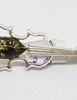 Sterling Silver Natural Amber Green Violin Musical Brooch