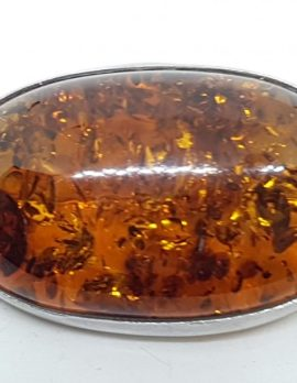 Sterling Silver Natural Amber Large Chunky Oval Brooch
