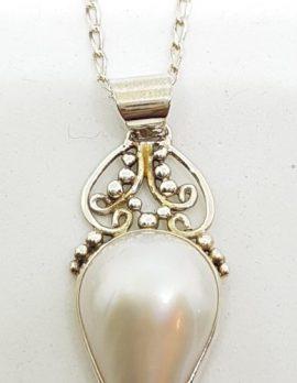 Sterling Silver Teardrop Shape Mabe Pearl Ornate Pendant on Chain
