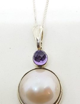 Sterling Silver Mabe Pearl & Amethyst Pendant on Chain