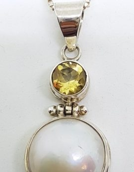 Sterling Silver Mabe Pearl & Citrine Tourmaline Pendant on Chain