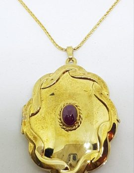 9ct Yellow Gold Large Oval Locket with Cabochon Cut Ruby Pendant on Gold Chain