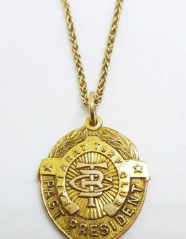 9ct Yellow Gold Shield Shape Ballarat Turf Club Medallion Pendant on Gold Chain