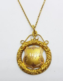 9ct Yellow Gold Ornate Central Highlands Football Club Premiers 1928 Medallion Pendant on Gold Chain