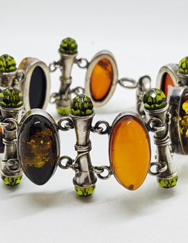 Sterling Silver Multi-Colour Natural Amber and Peridot Wide Bracelet - Stunning!