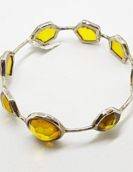 Sterling Silver Natural Colombian Amber Bangle