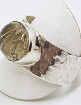 Sterling Silver Oval Rutilated Quartz Wide Beaten Pattern Band Ring
