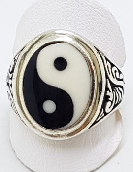 Sterling Silver Large Oval Yin Yang Ring