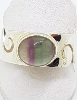 Sterling Silver Oval Fluorite Wide Wave Pattern Band Ring