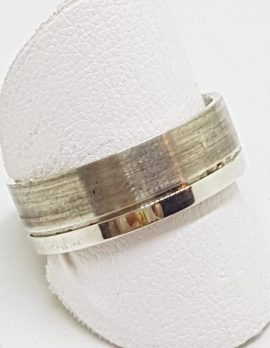 Sterling Silver Plain and Matt Pattern Band Ring