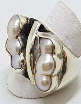 Sterling Silver Heavy Blister Pearl Bulky Ring