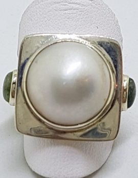 Sterling Silver Large Mabe Pearl & Iolite Square Ring