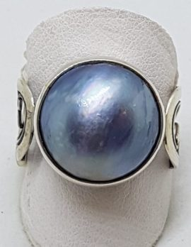 Sterling Silver Blue/Black Mabe Pearl Ornate Filigree Band Ring