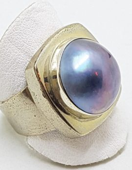 Sterling Silver Blue/Grey Mabe Pearl Square Ring