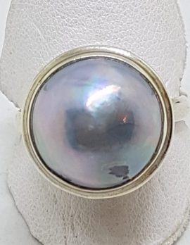 Sterling Silver Blue/Grey Mabe Pearl Ornate Rim Ring
