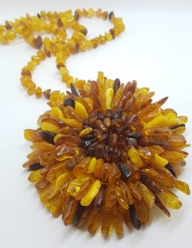 Natural Baltic Amber Large and Long Flower Bead Necklace / Chain