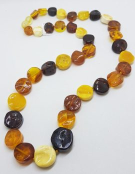 Natural Mulit-Coloured Baltic Amber Button Bead Necklace / Chain