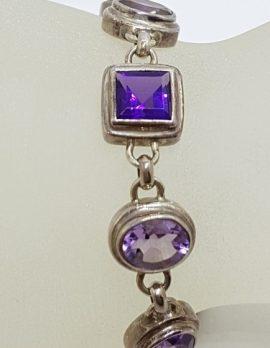 Sterling Silver Square & Oval Amethyst Bracelet