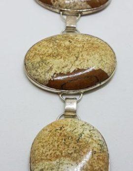 Sterling Silver Oval & Teardrop Large Bracelet