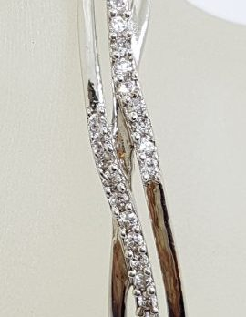 Sterling Silver Cubic Zirconia Weaved Pattern Hinged Bangle