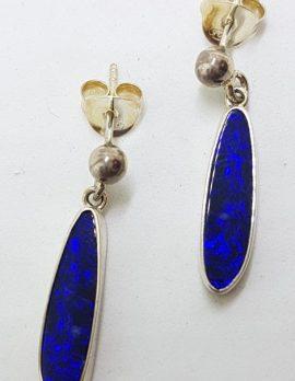 Sterling Silver Opal Blue Long Elongated Drop Earrings