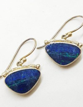 Sterling Silver Opal Blue Triangular Large Drop Earrings