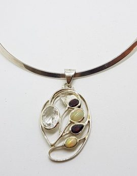 Sterling Silver Large Ornate Opal, Garnet and Clear Crystal Quartz Pendant on Sterling Silver Choker