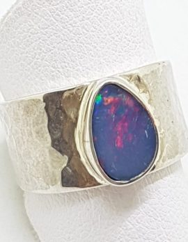 Sterling Silver Opal in Wide Beaten Design Band Ring
