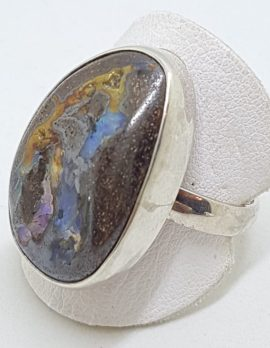 Sterling Silver Large Free form Boulder Opal Ring