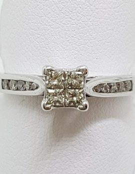 9ct White Gold Claw and Channel Set High Square Diamond Engagement Ring