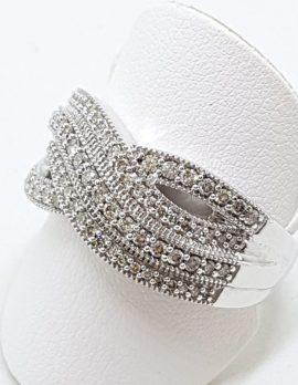 9ct White Gold Wide Twist Diamond Ring