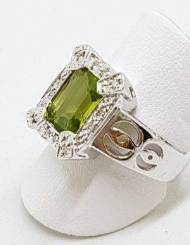 9ct White Gold Large Rectangular Peridot and Diamond Ornate Ring