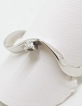 9ct White Gold Curved/Wave Diamond Ring