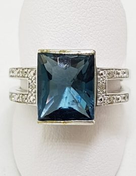 9ct White Gold Large Rectangular Blue with Diamond Ring