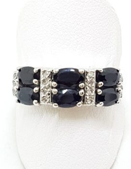 14ct White Gold Bridge Set Sapphire & Diamond Ring