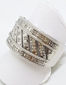 9ct White Gold Wide Diamond Ornate Band Ring