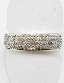 18ct White Gold Pave Set Diamond Wide Band Ring