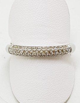 9ct White Gold Diamond Pave Set Band Ring
