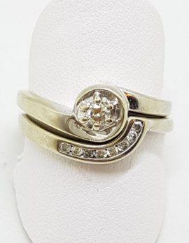 9ct White Gold Diamond Curved Engagement & Wedding Ring Set