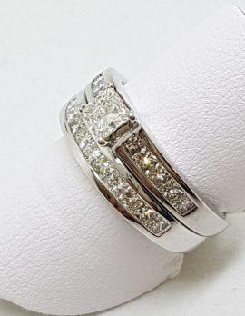 18ct White Gold Channel Set Diamond Square Engagement & Wedding Ring Set