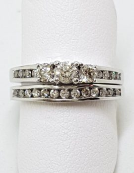 9ct White Gold Channel & Claw Set Diamond Engagement & Wedding Ring Set