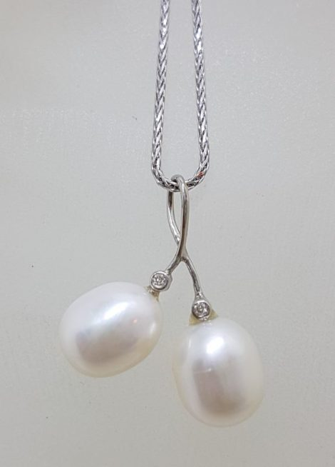 9ct White Gold Two Pearl & Diamond Twist Pendant on Gold Chain