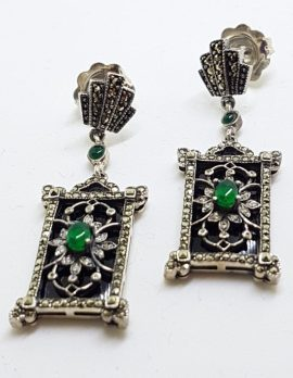 Sterling Silver Marcasite, Onyx and Green Agate Drop Earrings