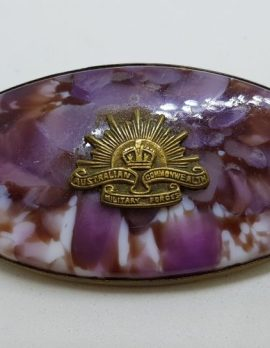 Gold Lined Australian Commonwealthy Military Forces Large Brooch - Militaria