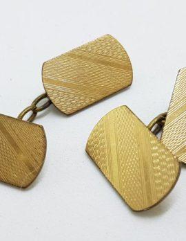 Gold Lined Ornate Rectangular Cufflinks