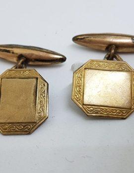 Gold Lined Ornate Octagonal Cufflinks