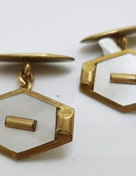 Gold Lined Ornate Mother of Pearl Cufflinks