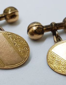 Gold Lined Ornate Oval Cufflinks