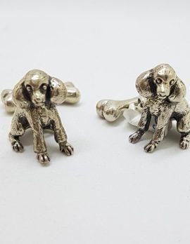 Sterling Silver Poodle Dog & Bone Cufflinks