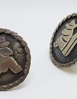 Sterling Silver Large Round Mexican Cufflinks